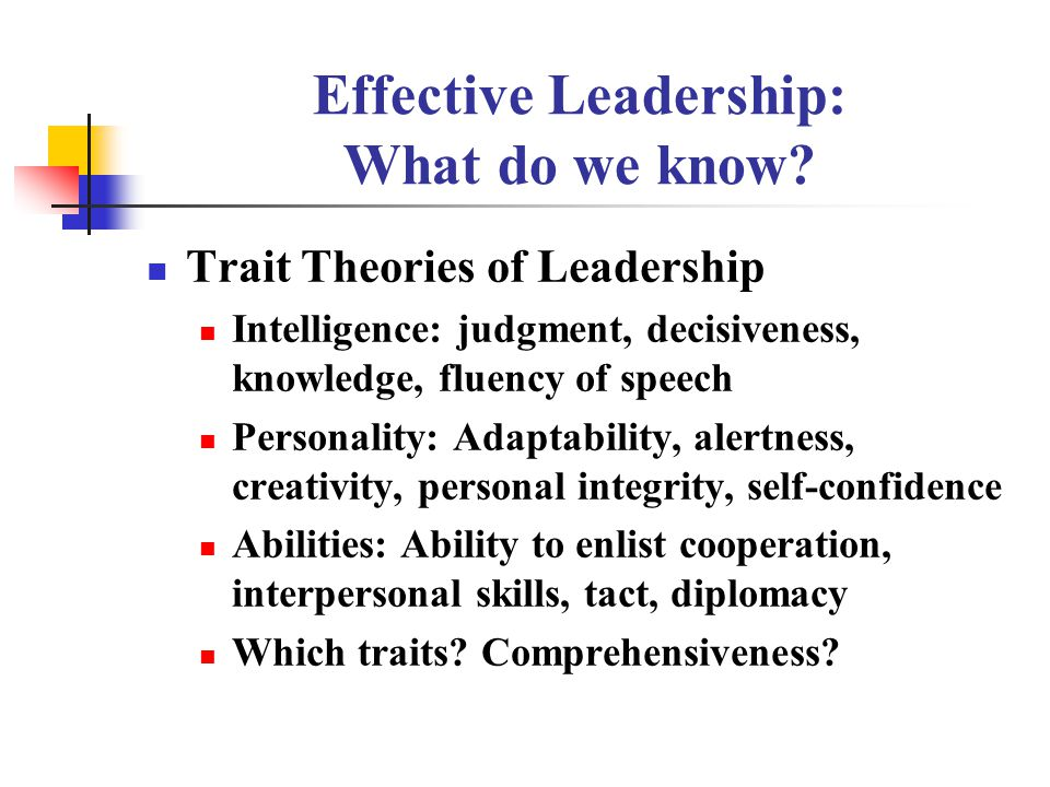 leadership and management traits and theories
