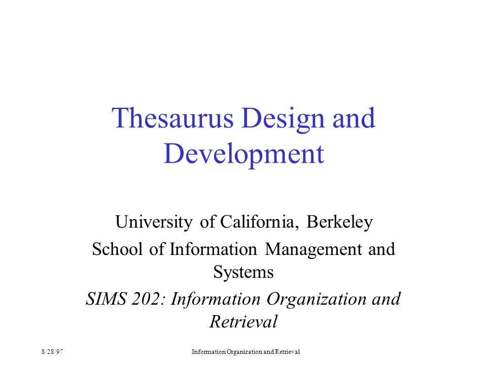 Thesaurus Design and Development - ppt video online download
