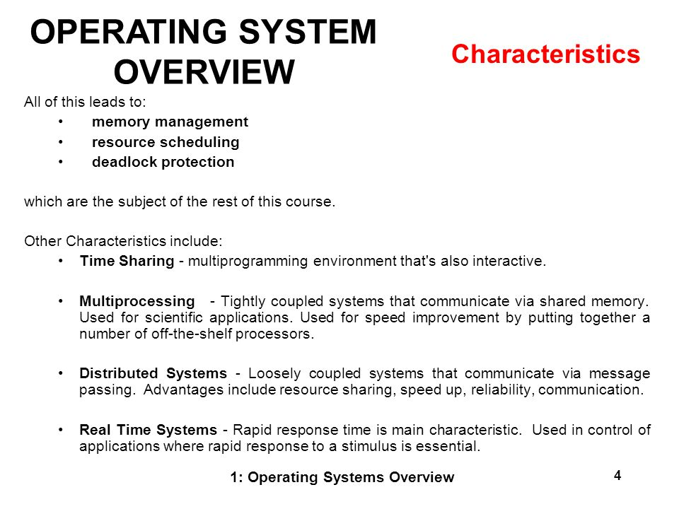 What are the features of real time operating system RTOS?