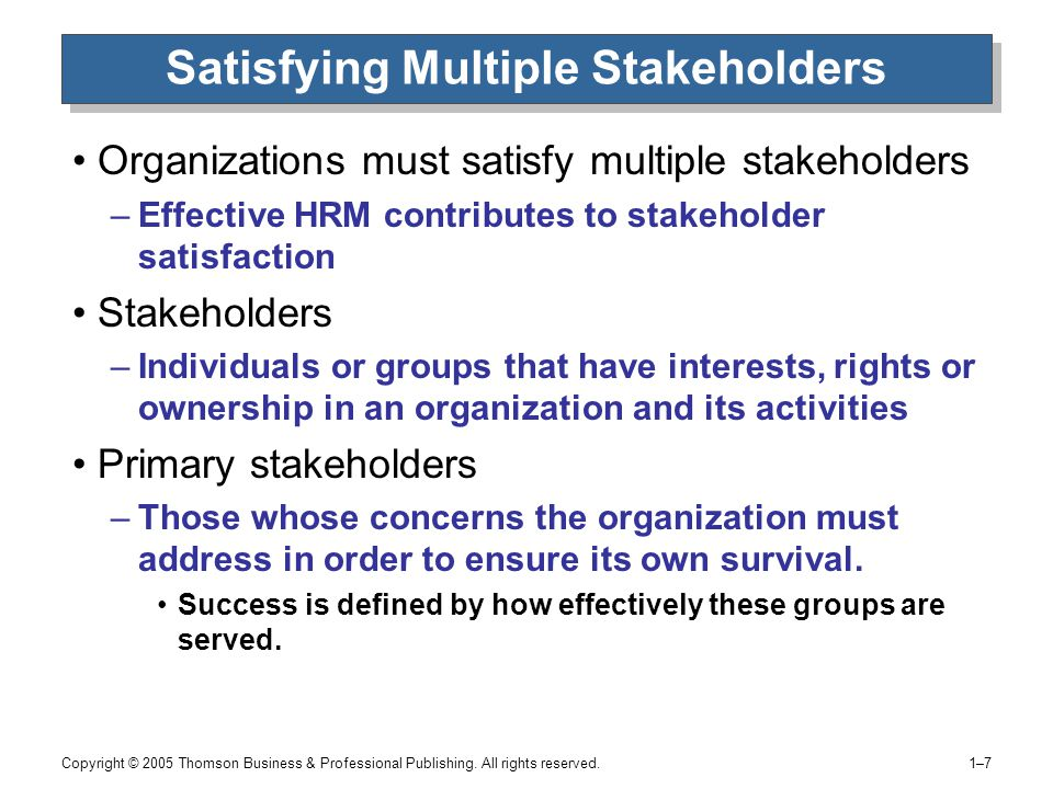 What Are the Stakeholders' Objectives in an Organization?