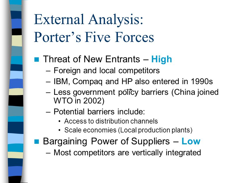 porter analysis china Patterns of national competitive success by: michael e porter   competitiveness that grows directly out of an analysis of internationally successful  industries,.