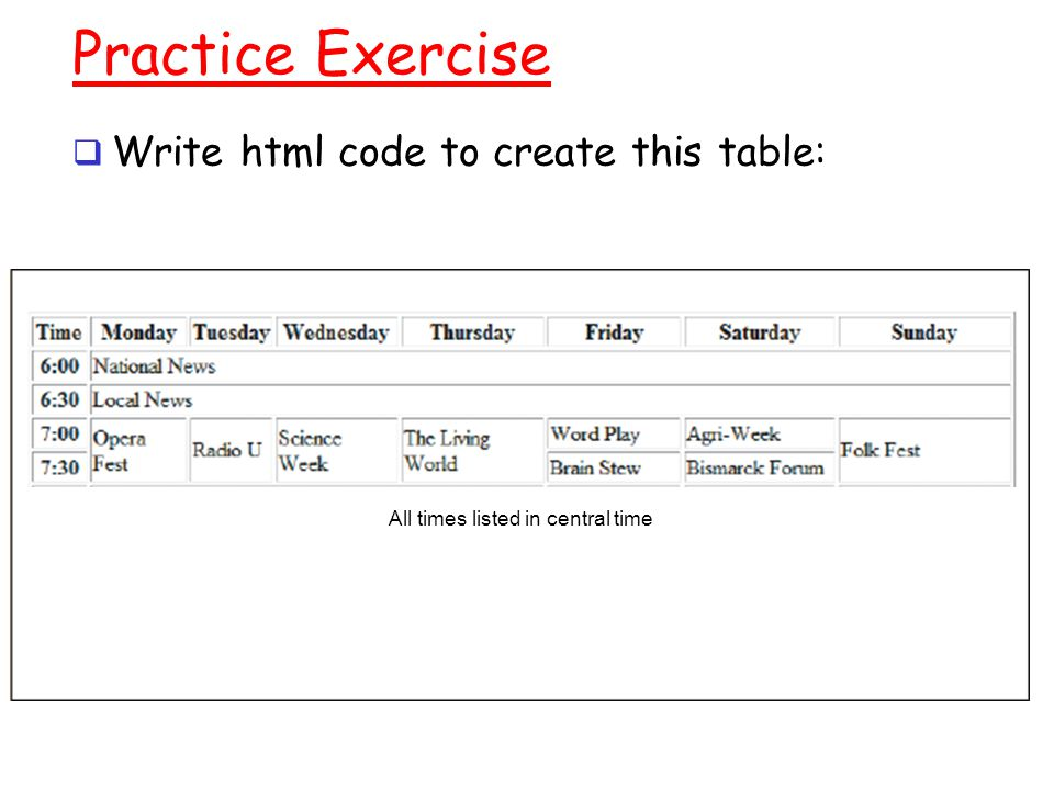 write a html code for school time table
