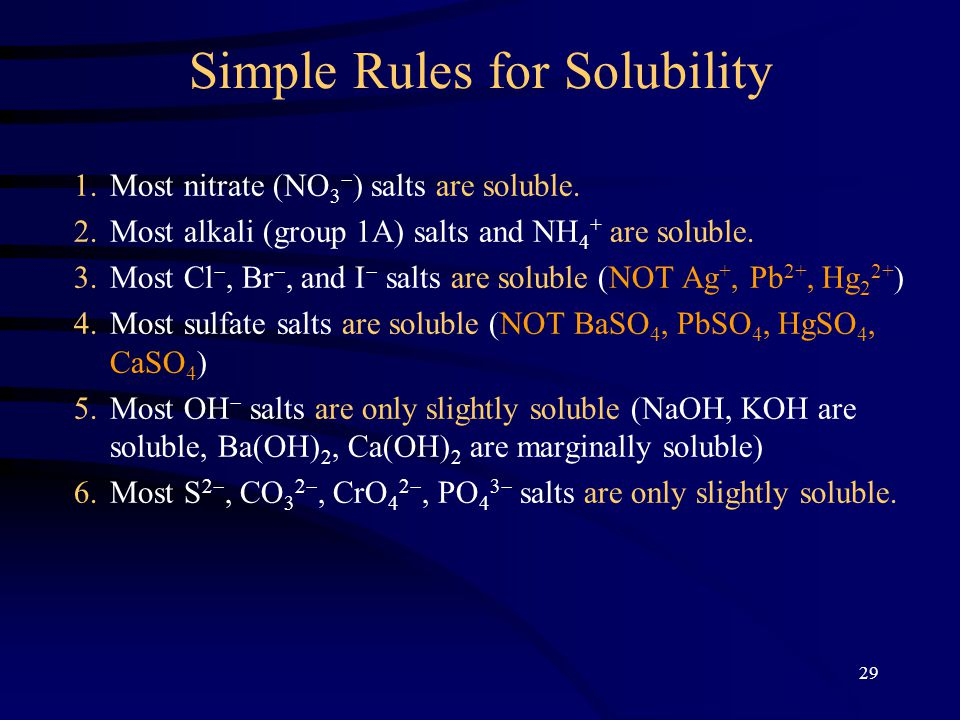 experiment basic solubility rules of salts 2003-05-01  a simple method for determination of solubility in the  a simple experiment was devised to let students  students are required to determine the solubility of common salts at various temperatures by finding the.
