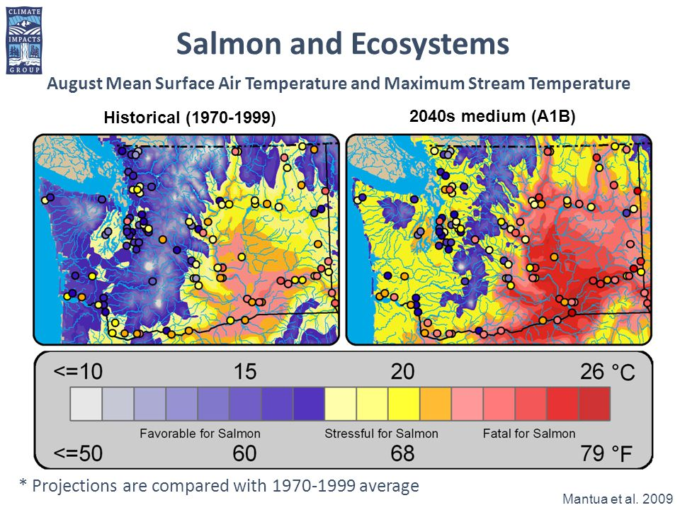 Salmon and Ecosystems August Mean Surface Air Temperature and Maximum Stream Temperature. Historical ( )