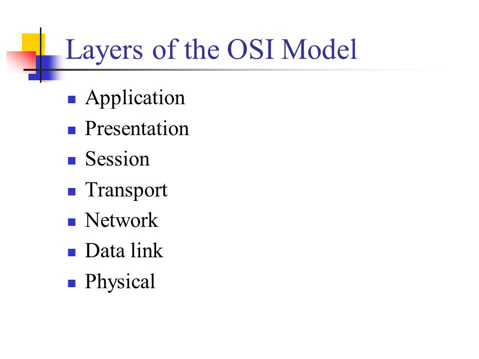 Layers of the OSI Model Application Presentation Session Transport
