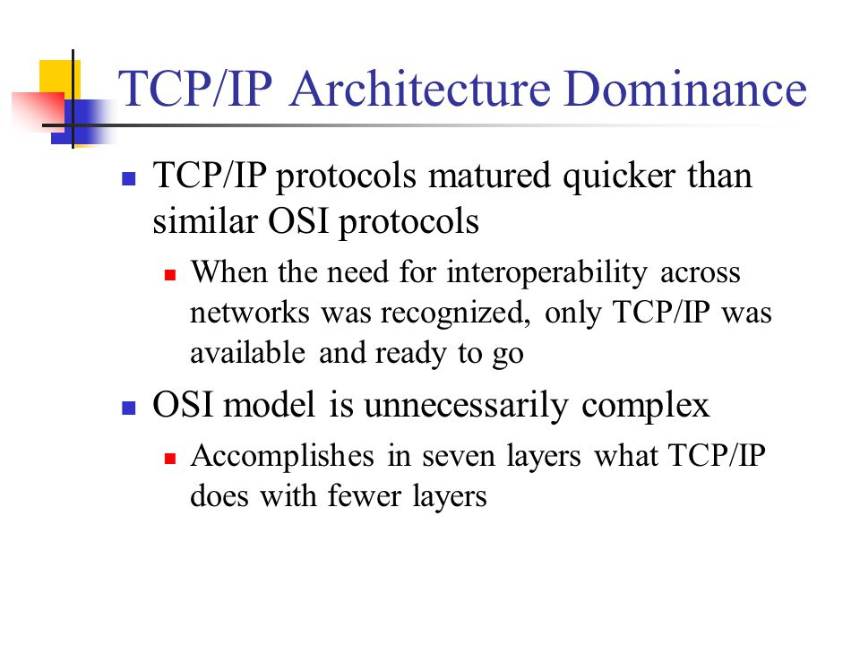 TCP/IP Architecture Dominance