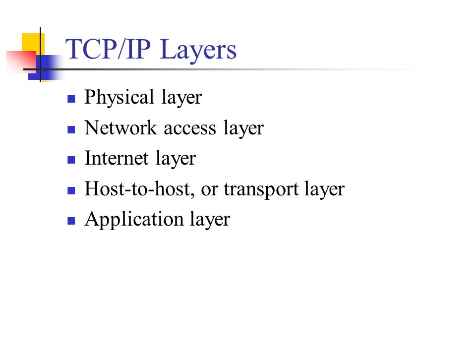 TCP/IP Layers Physical layer Network access layer Internet layer