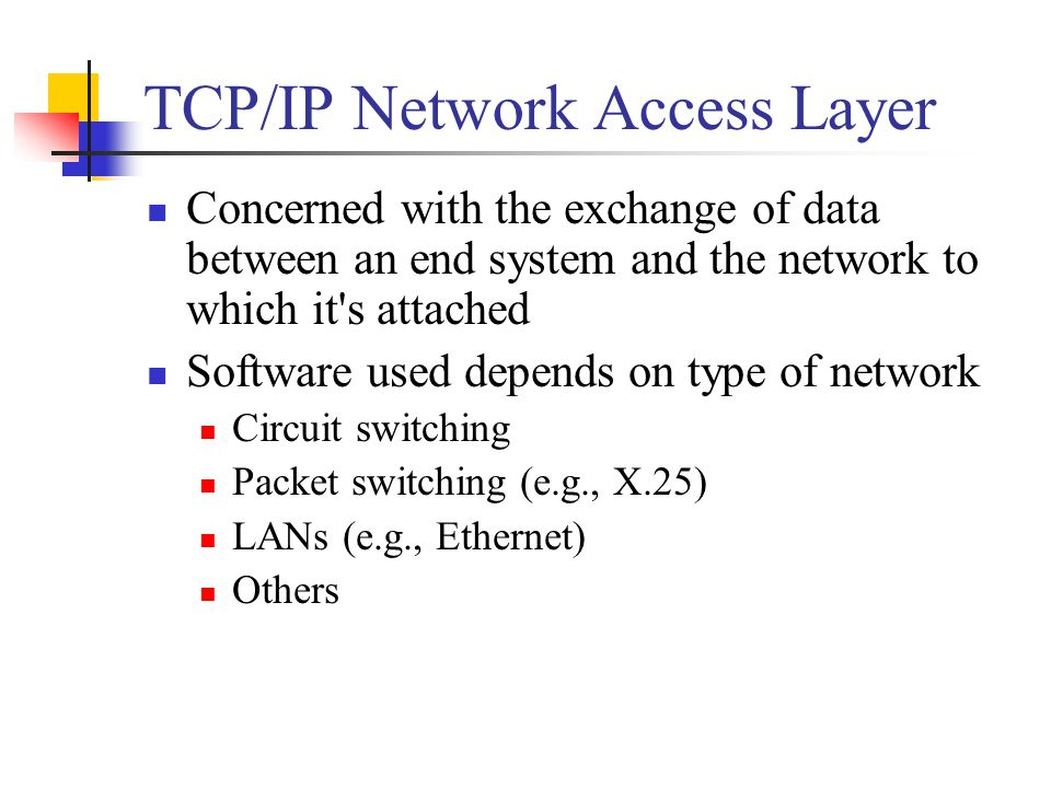 TCP/IP Network Access Layer