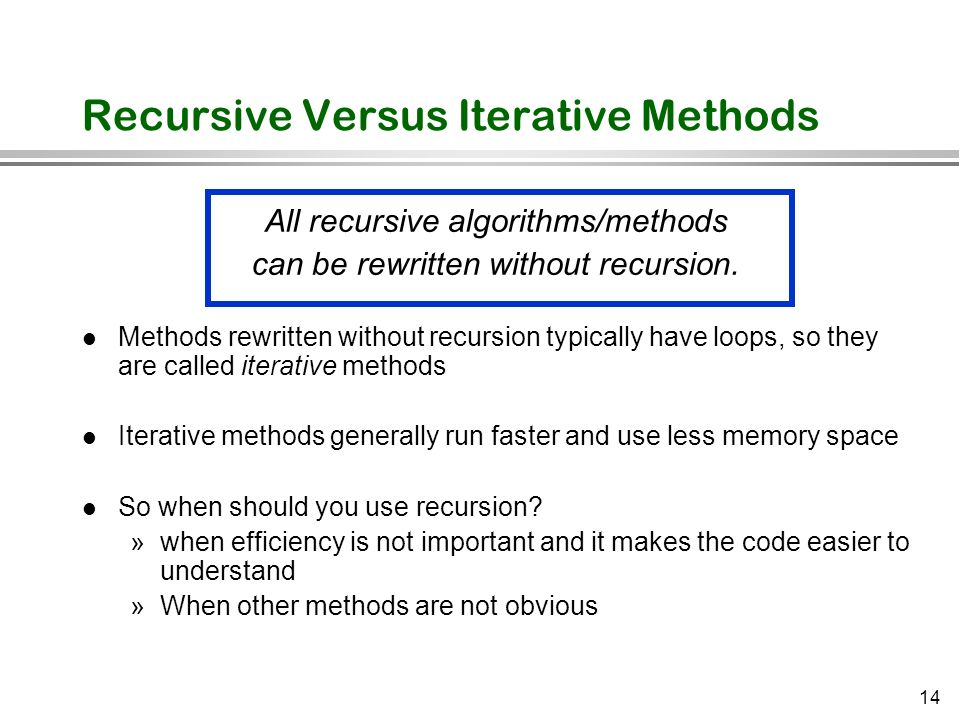 Recursive Versus Iterative Methods
