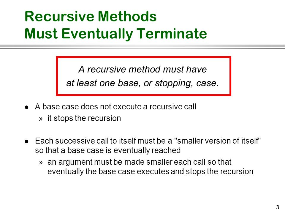 Recursive Methods Must Eventually Terminate