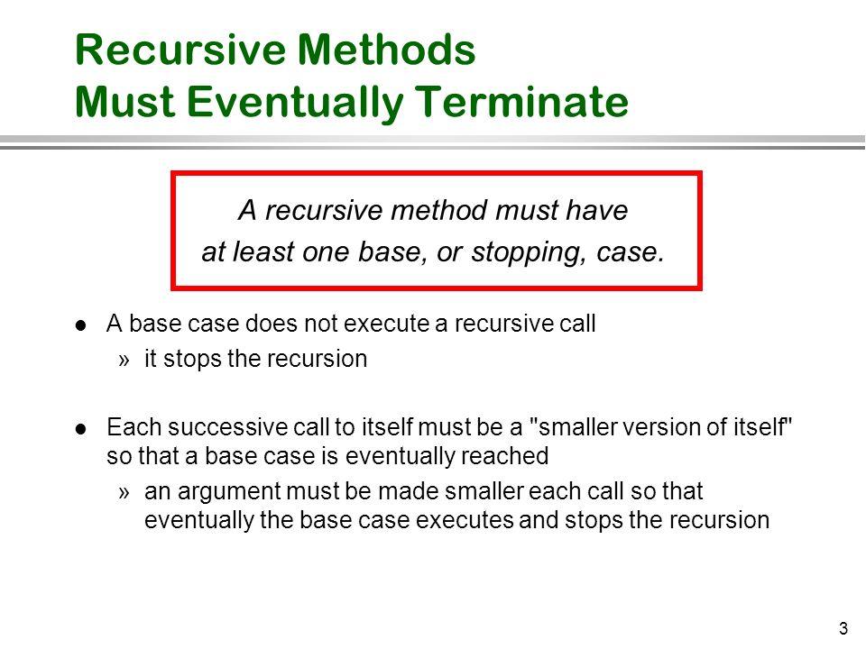 Recursive Methods Must Eventually Terminate