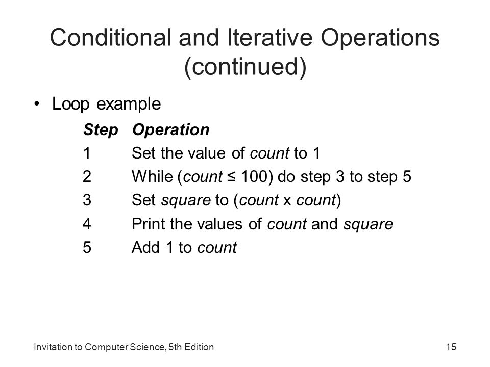 Conditional and Iterative Operations (continued)