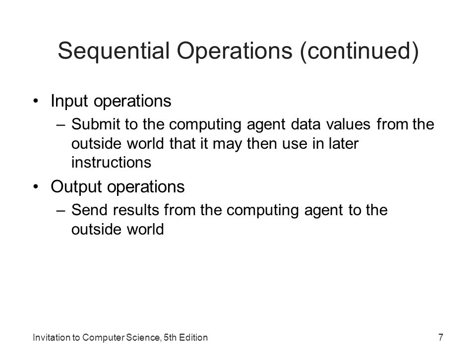 Sequential Operations (continued)