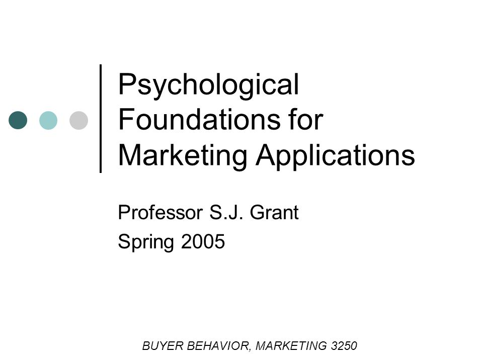 Psychological Foundations for Marketing Applications