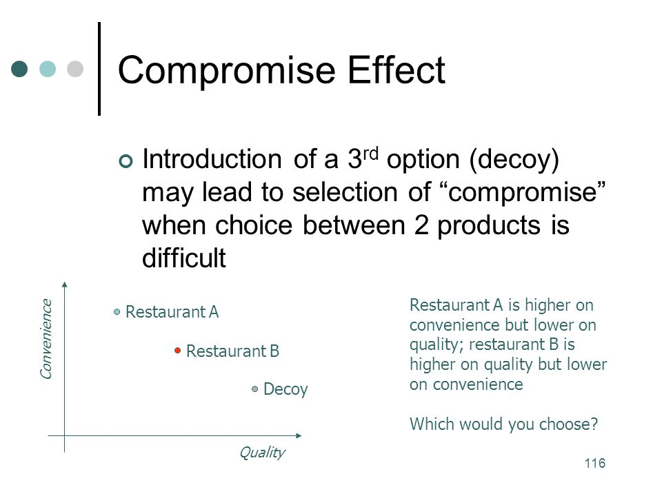 Compromise Effect Introduction of a 3rd option (decoy) may lead to selection of compromise when choice between 2 products is difficult.
