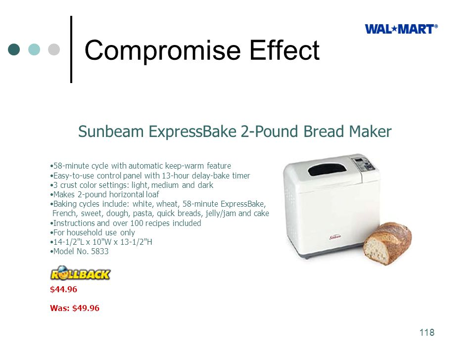 Compromise Effect Sunbeam ExpressBake 2-Pound Bread Maker