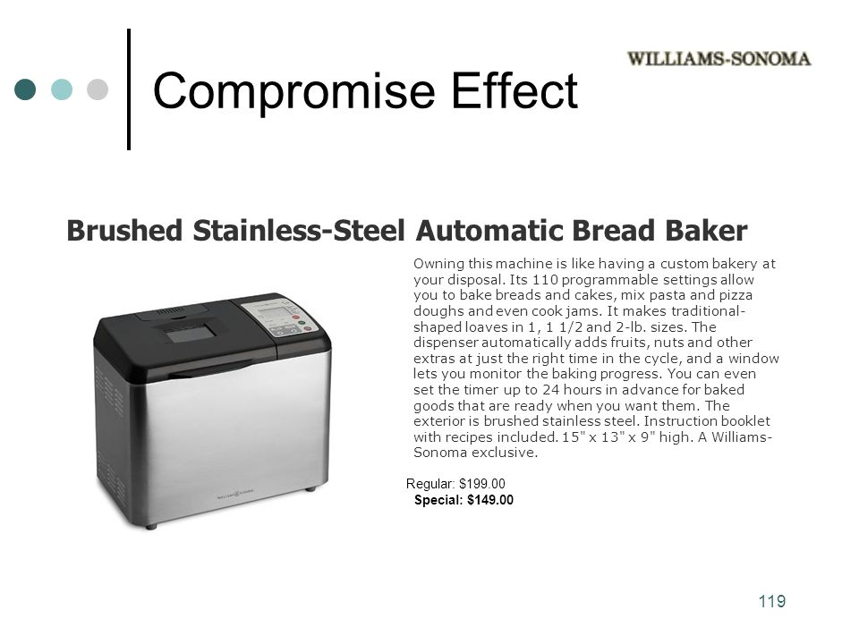Compromise Effect Brushed Stainless-Steel Automatic Bread Baker