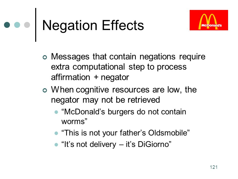 Negation Effects Messages that contain negations require extra computational step to process affirmation + negator.