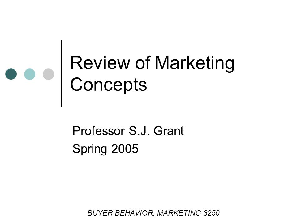 Review of Marketing Concepts