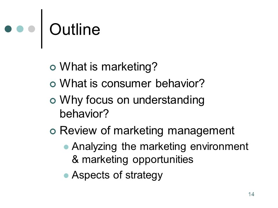 Outline What is marketing What is consumer behavior