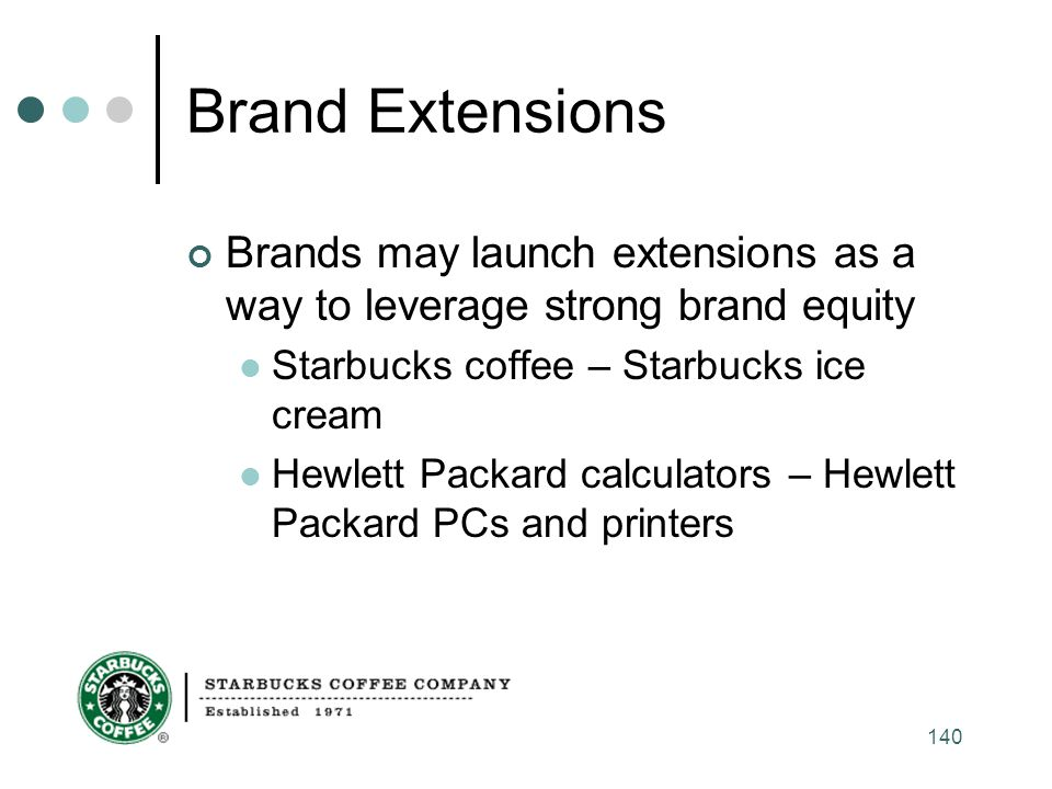 Brand Extensions Brands may launch extensions as a way to leverage strong brand equity. Starbucks coffee – Starbucks ice cream.
