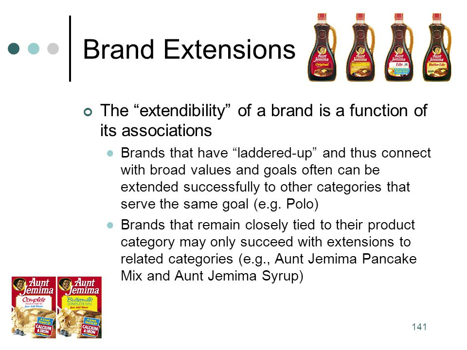 Brand Extensions The extendibility of a brand is a function of its associations.