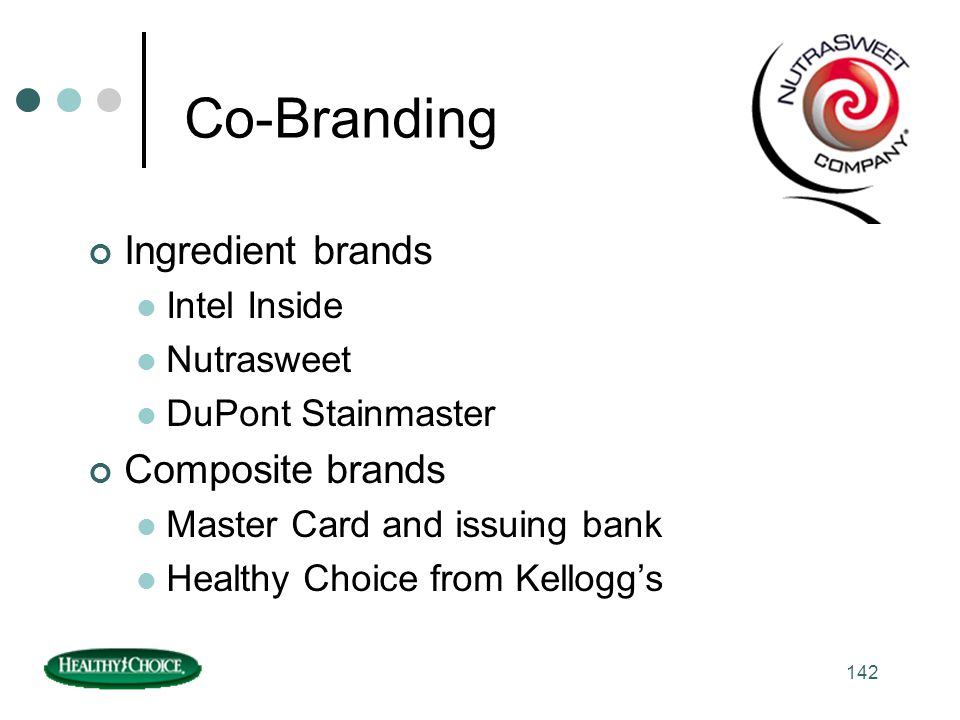 Co-Branding Ingredient brands Composite brands Intel Inside Nutrasweet