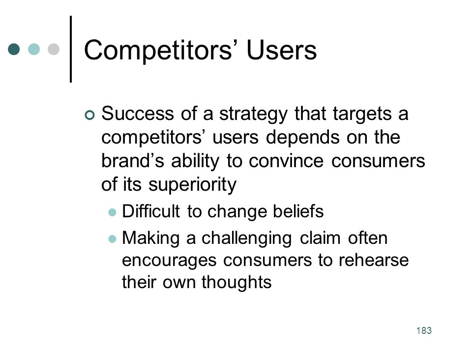 Competitors' Users Success of a strategy that targets a competitors' users depends on the brand's ability to convince consumers of its superiority.