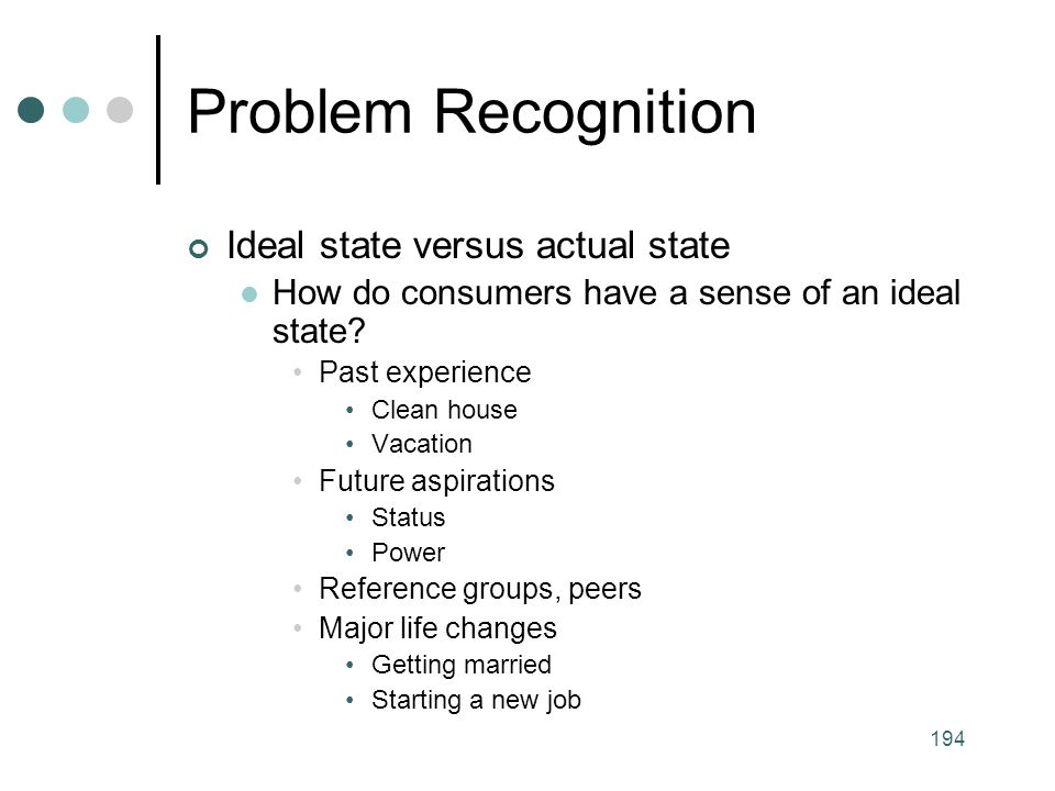 Problem Recognition Ideal state versus actual state