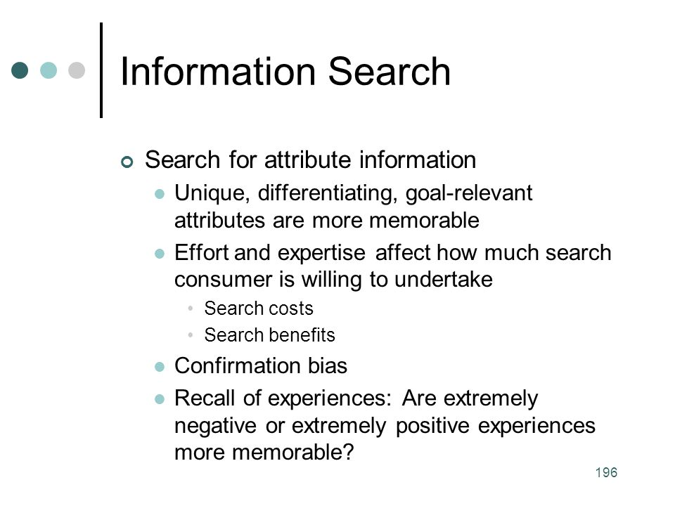 Information Search Search for attribute information