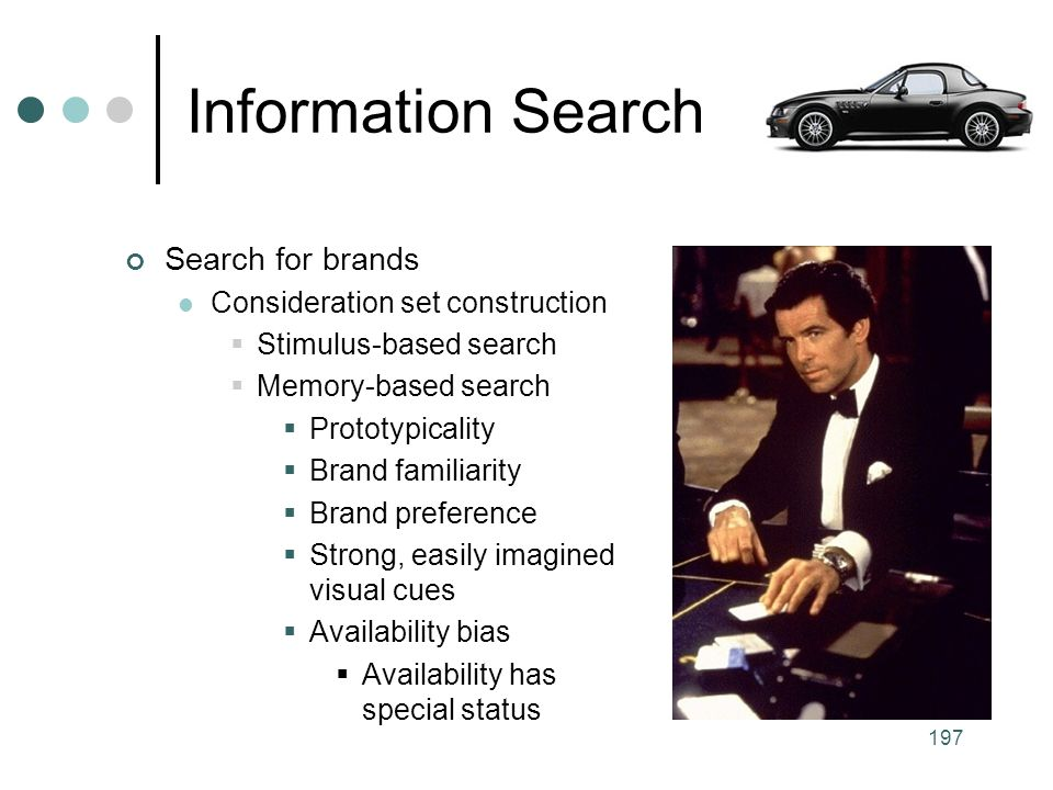 Information Search Search for brands Consideration set construction