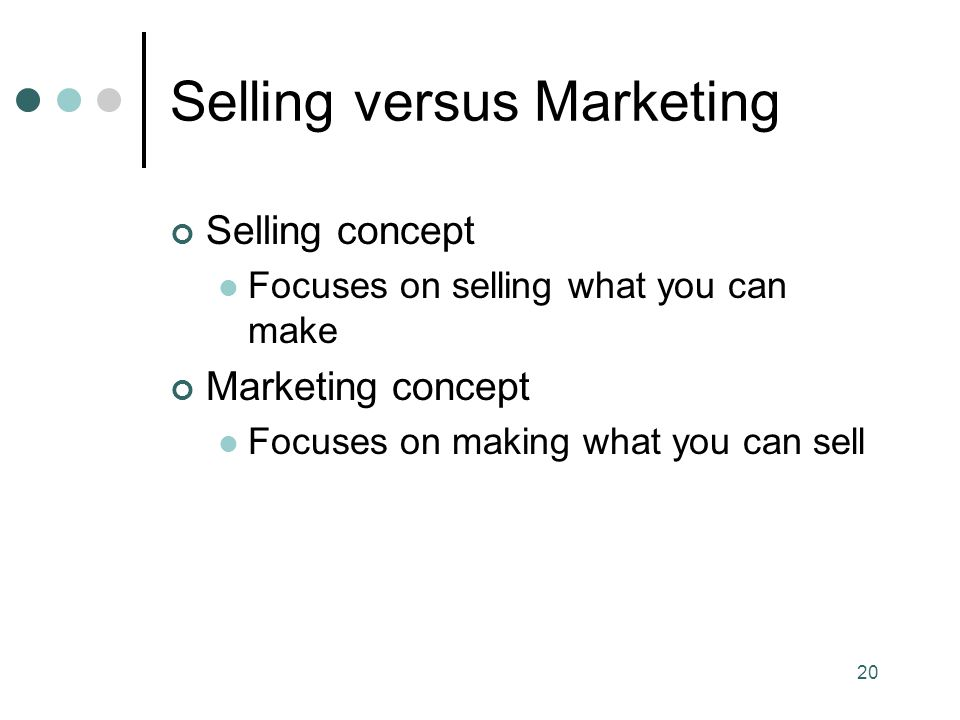 Selling versus Marketing