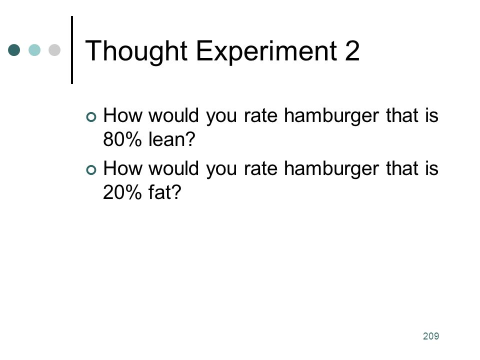 Thought Experiment 2 How would you rate hamburger that is 80% lean