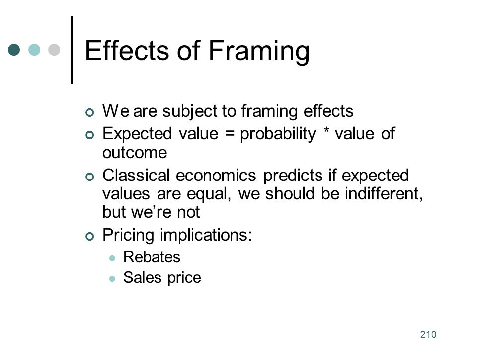 Effects of Framing We are subject to framing effects