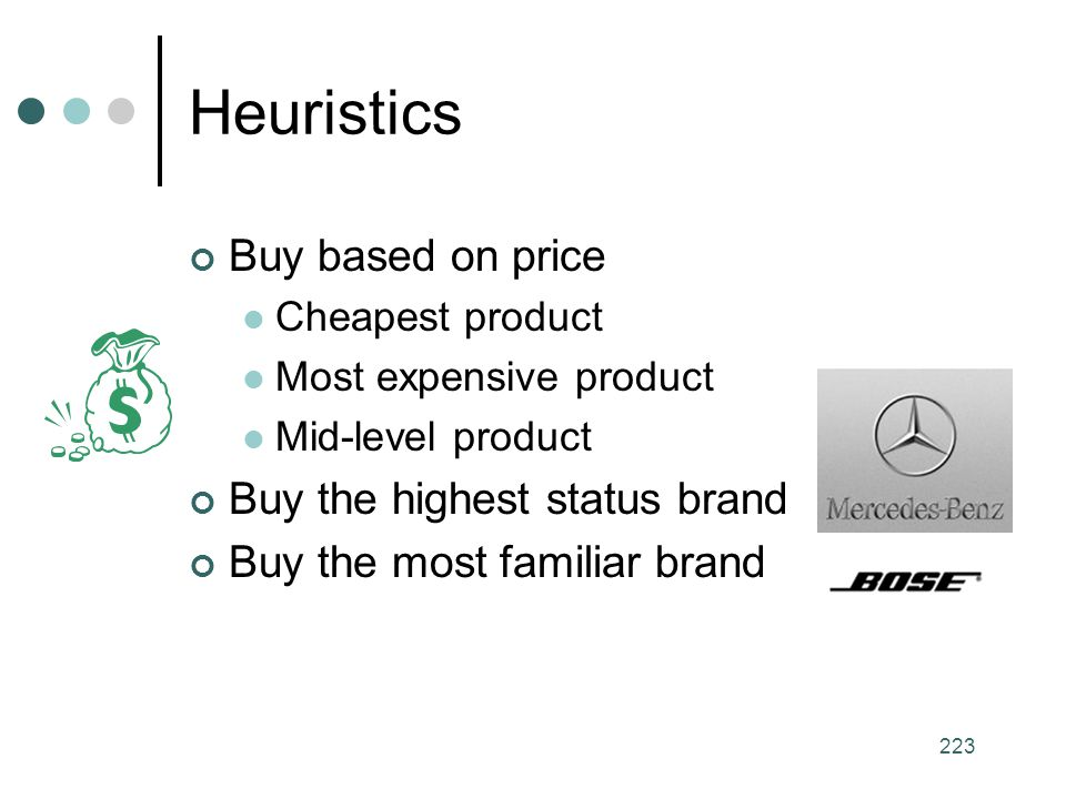 Heuristics Buy based on price Buy the highest status brand