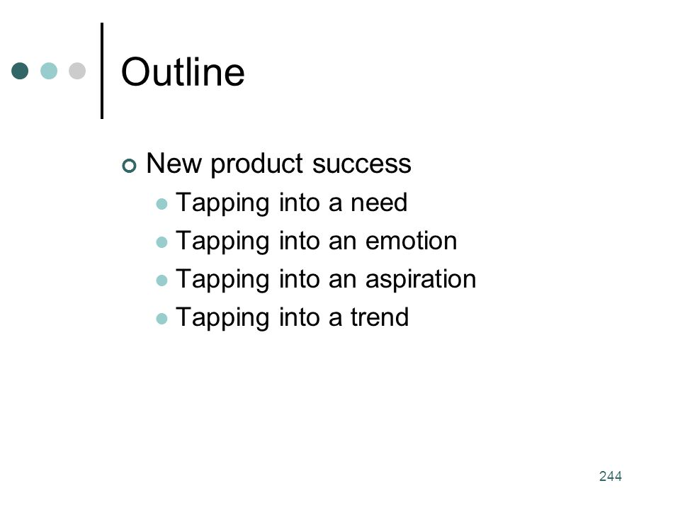 Outline New product success Tapping into a need