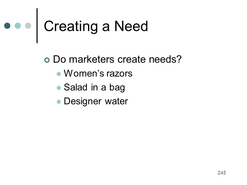 Creating a Need Do marketers create needs Women's razors