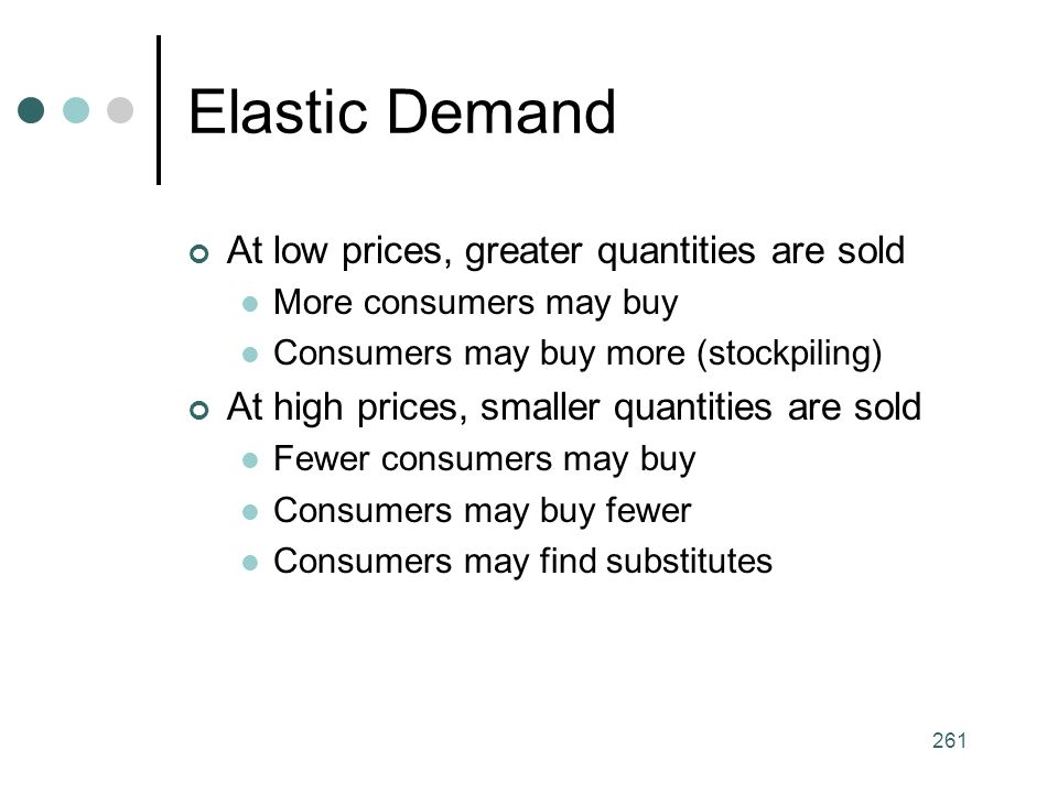 Elastic Demand At low prices, greater quantities are sold