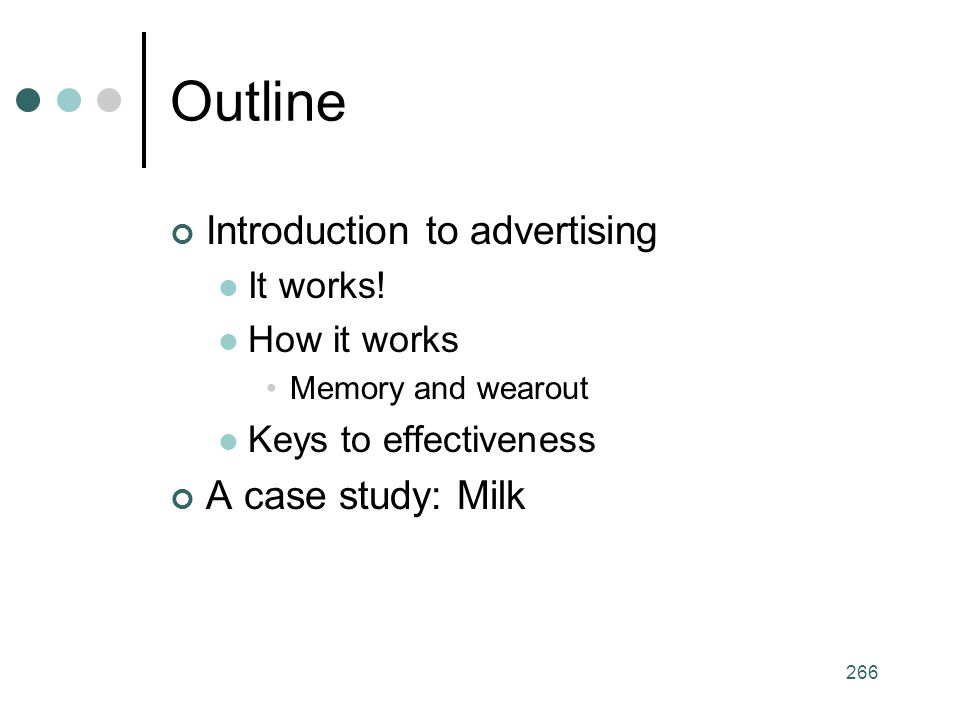 Outline Introduction to advertising A case study: Milk It works!
