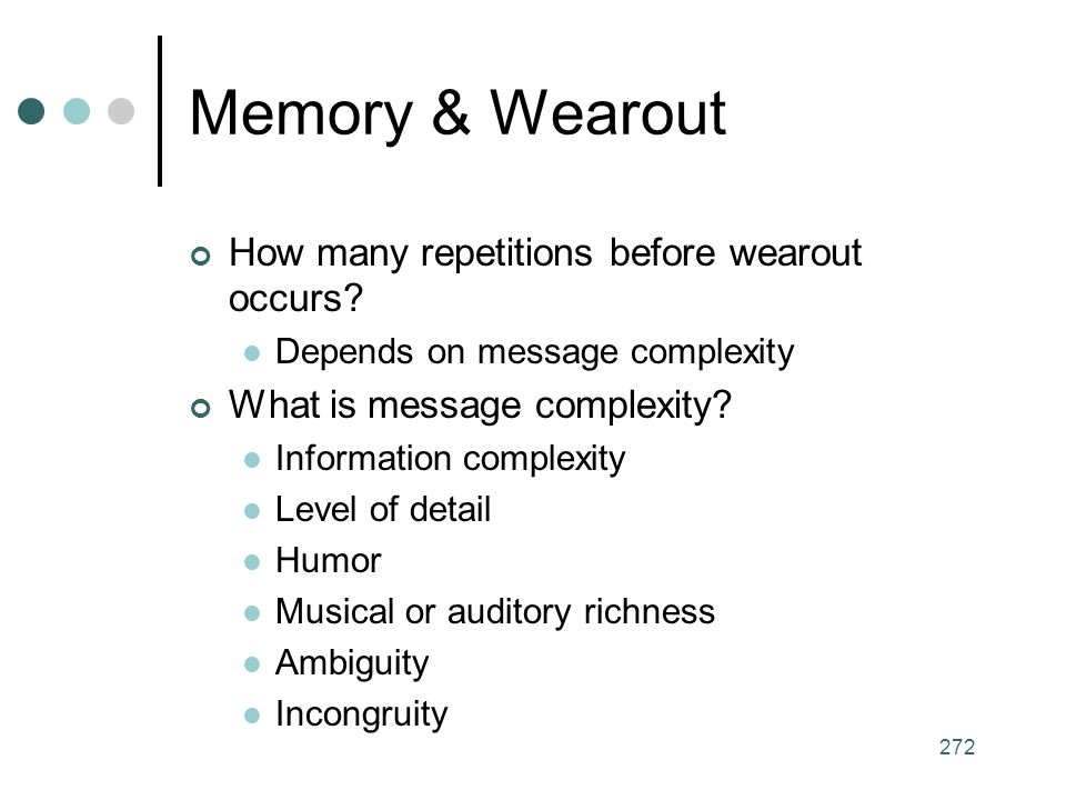 Memory & Wearout How many repetitions before wearout occurs