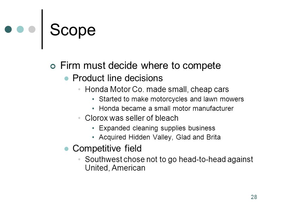 Scope Firm must decide where to compete Product line decisions
