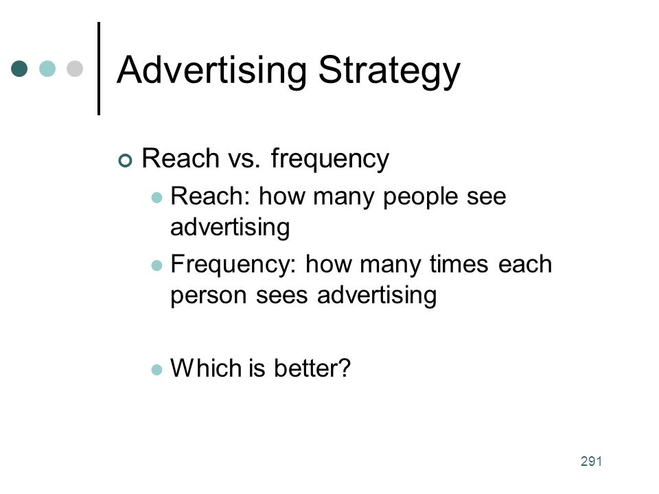Advertising Strategy Reach vs. frequency