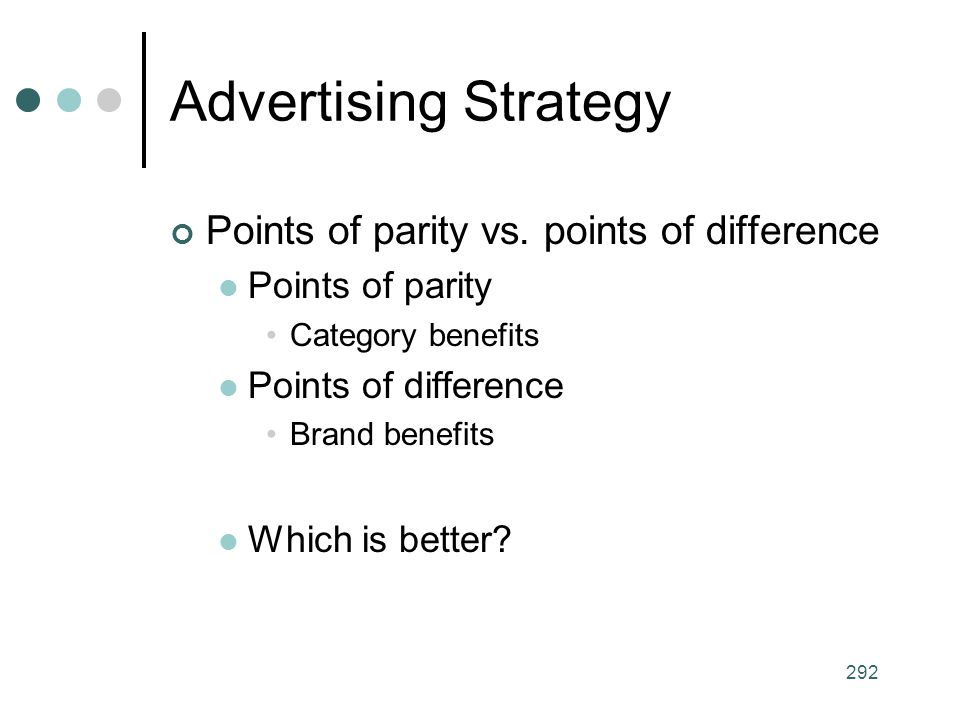 Advertising Strategy Points of parity vs. points of difference
