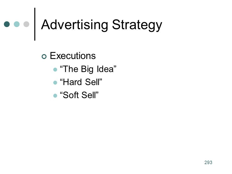 Advertising Strategy Executions The Big Idea Hard Sell Soft Sell