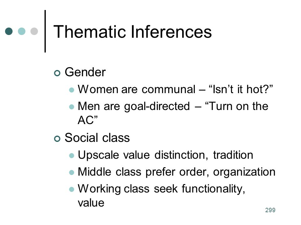 Thematic Inferences Gender Social class