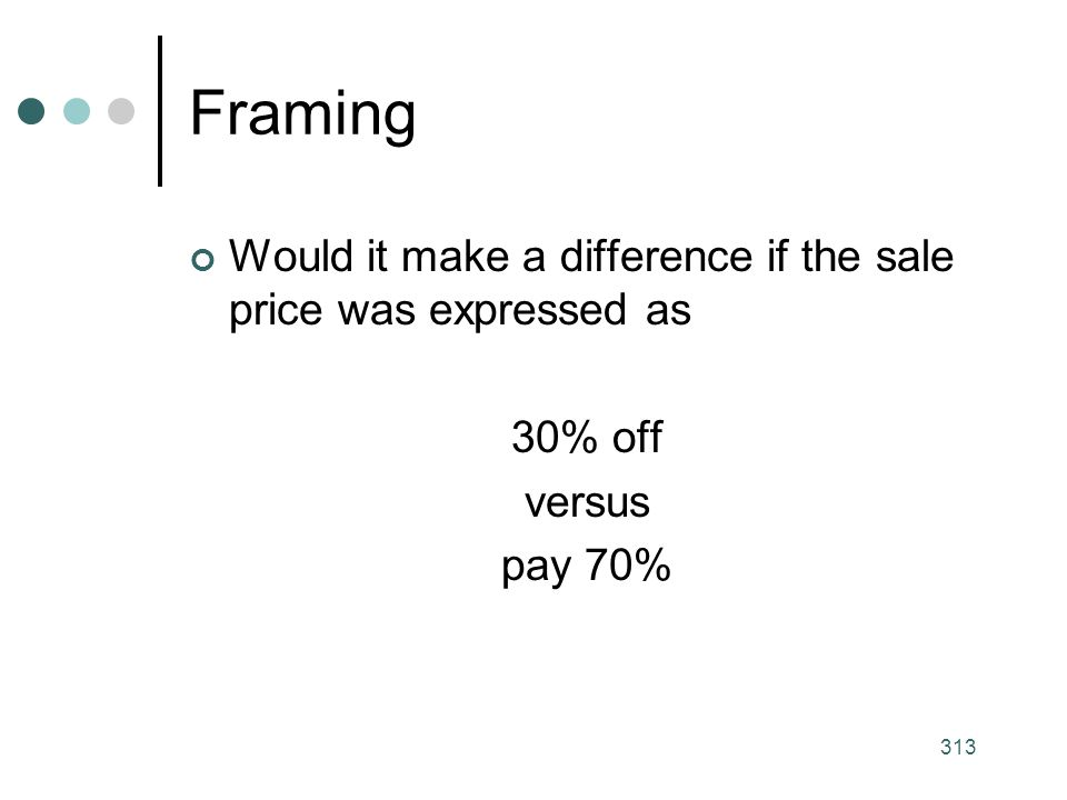 Framing Would it make a difference if the sale price was expressed as