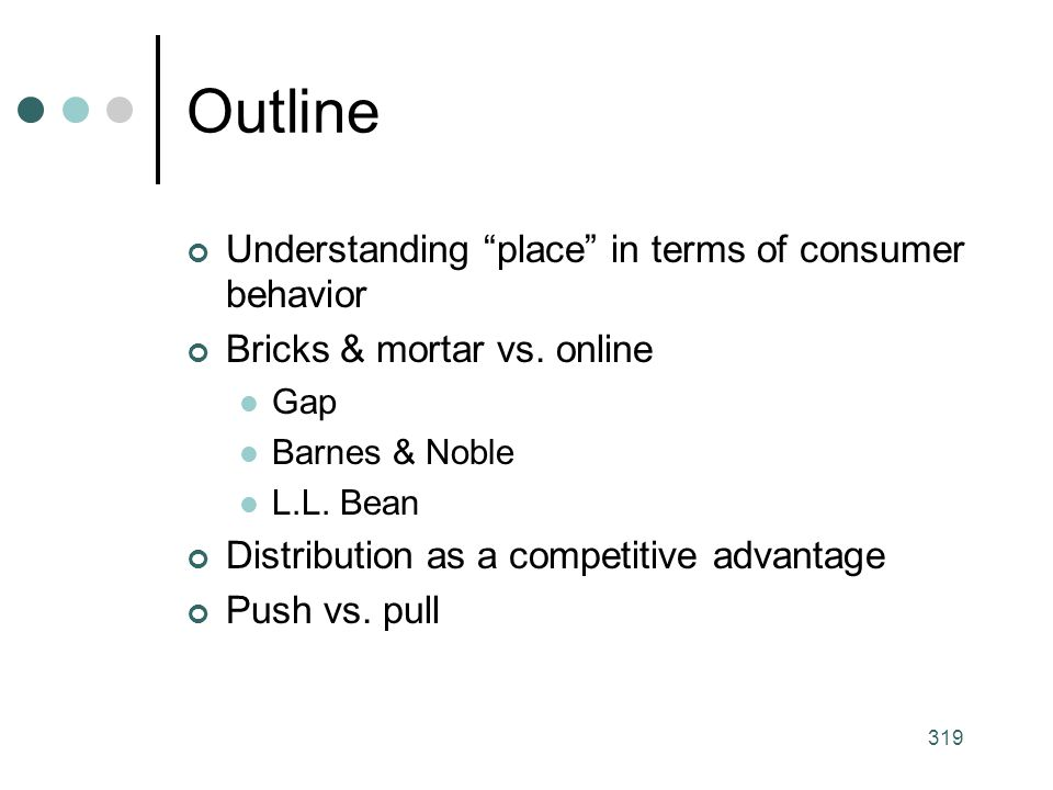 Outline Understanding place in terms of consumer behavior