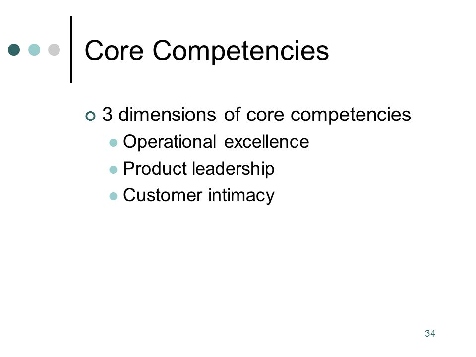Core Competencies 3 dimensions of core competencies