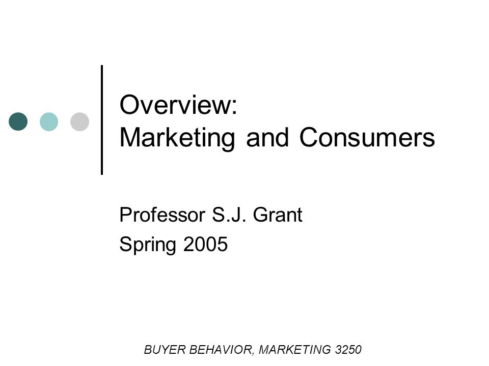 Overview: Marketing and Consumers