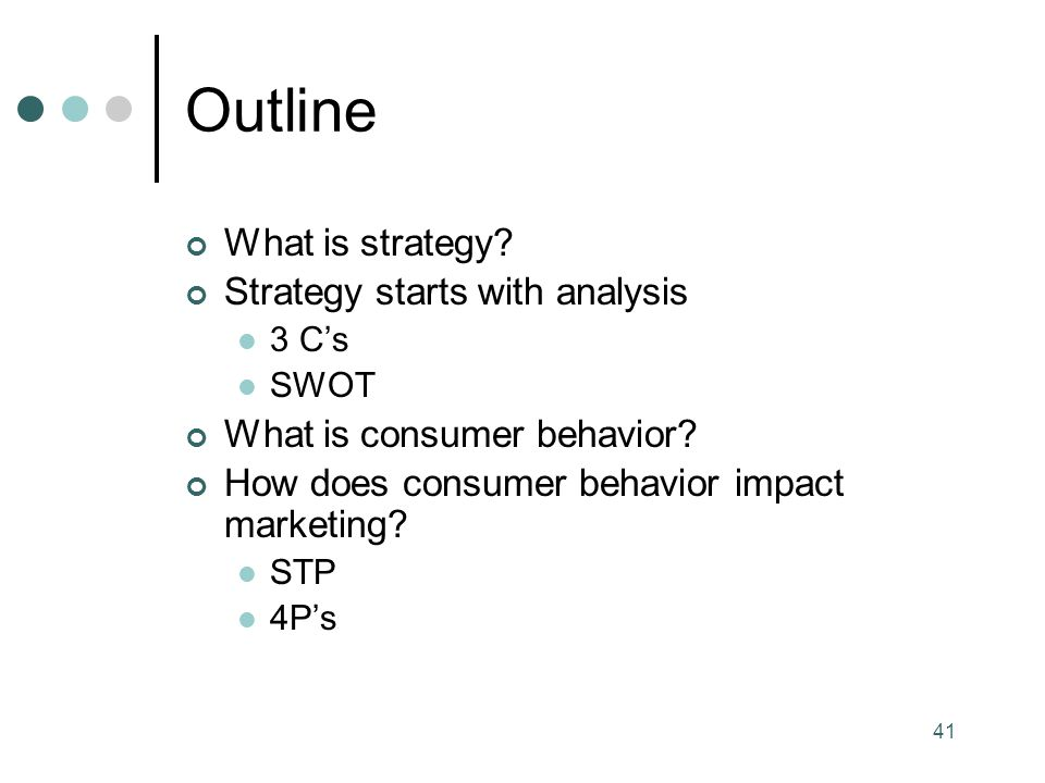 Outline What is strategy Strategy starts with analysis
